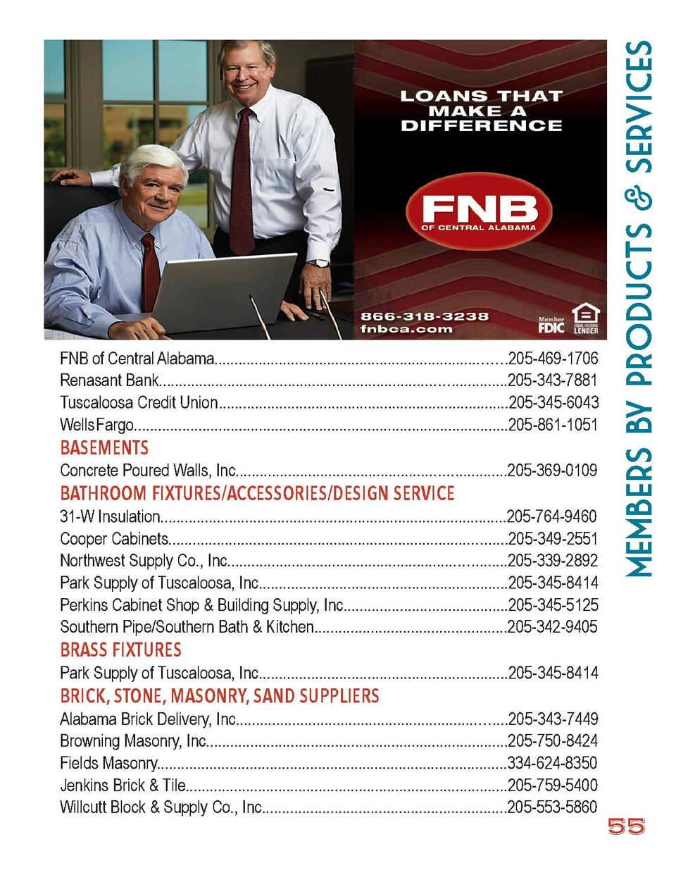 members by Products   Services  FNB of Central Alabama.......................................................................