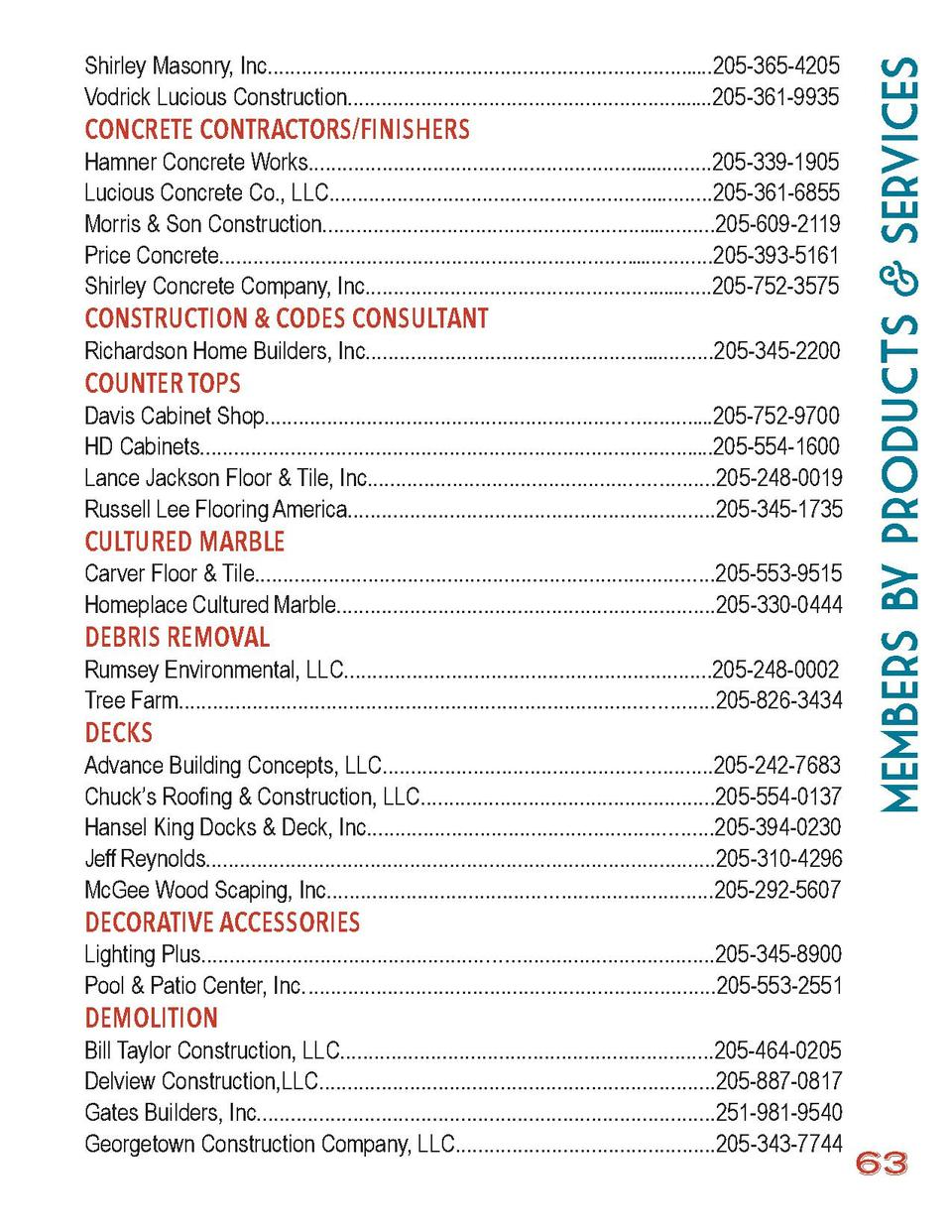 members by Products   Services  Shirley Masonry, Inc.........................................................................