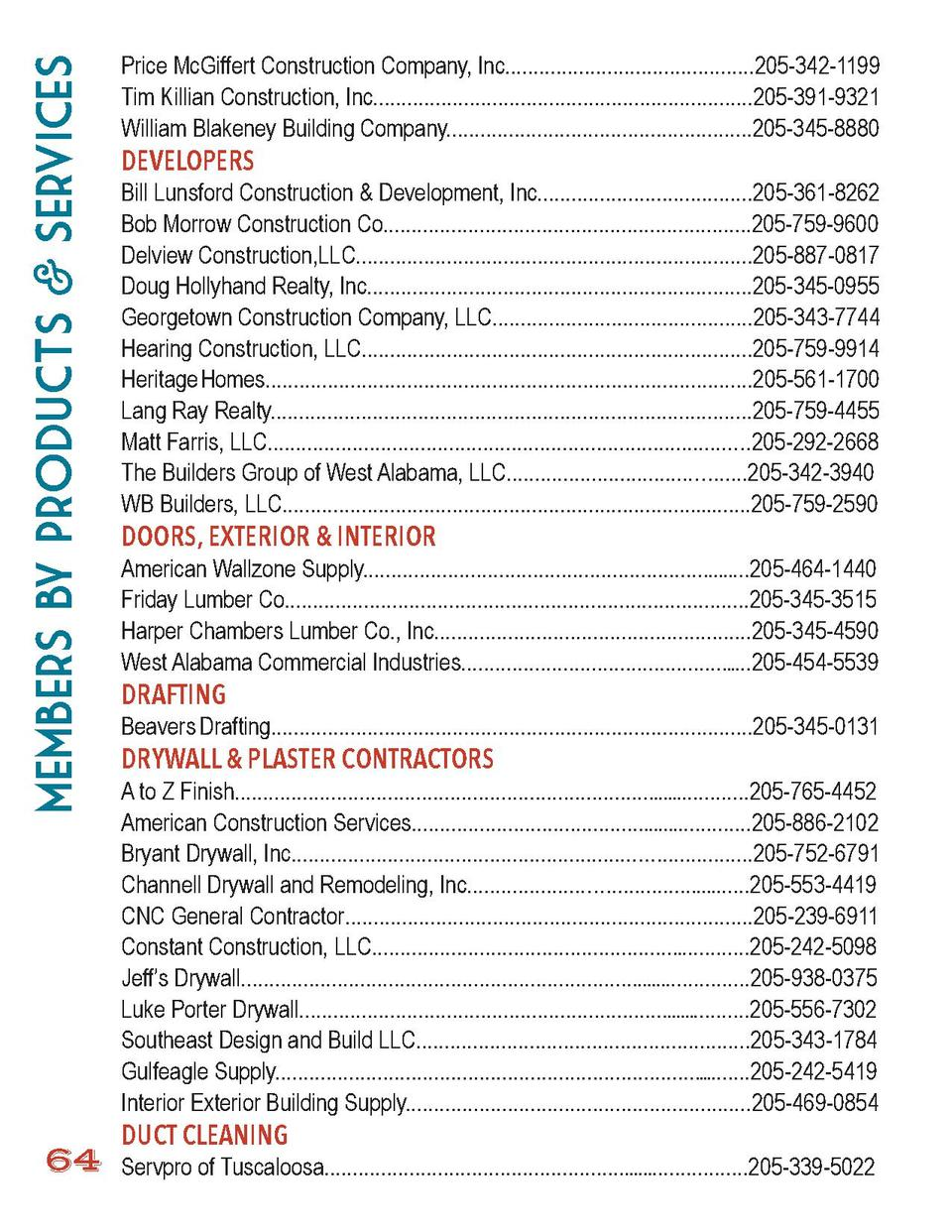 members by Products   Services 64  Price McGiffert Construction Company, Inc............................................20...