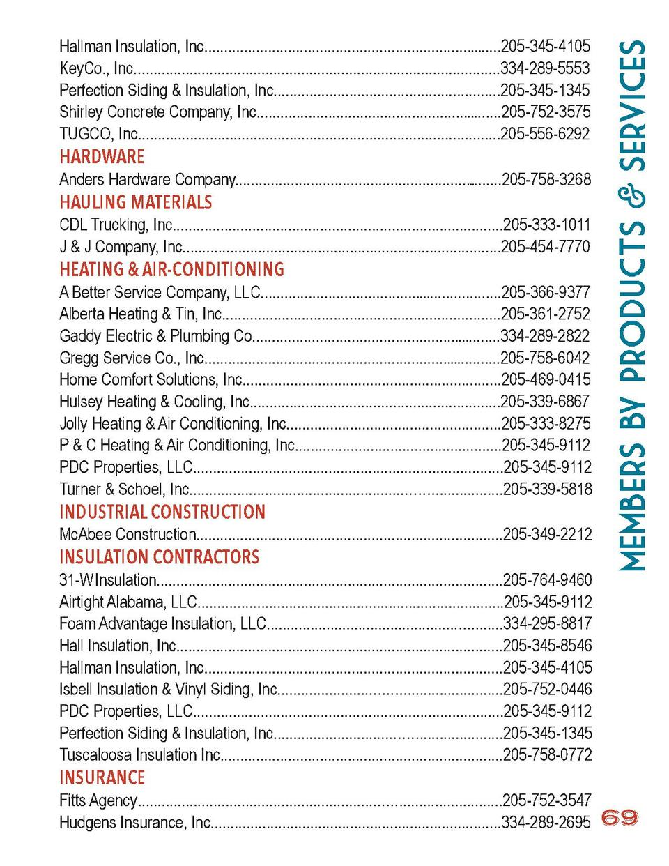 members by Products   Services  Hallman Insulation, Inc......................................................................