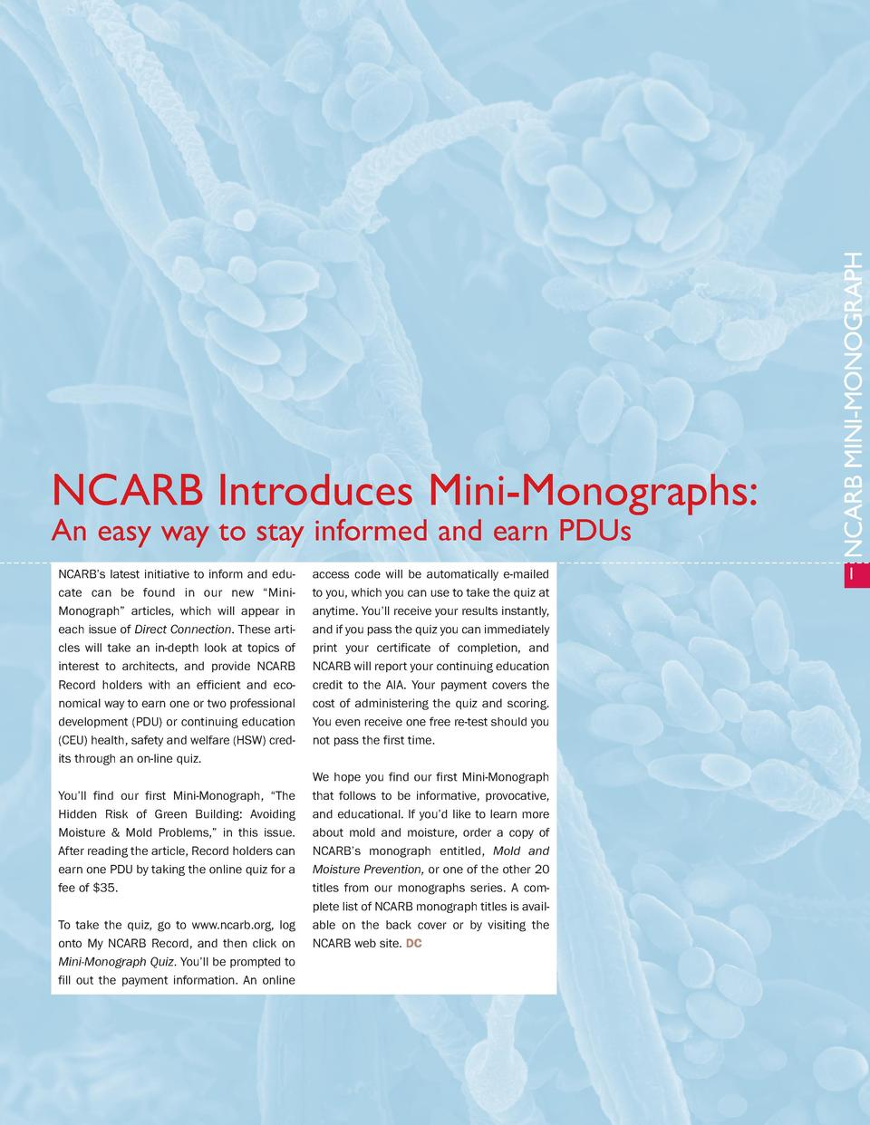 An easy way to stay informed and earn PDUs NCARB   s latest initiative to inform and educate can be found in our new    Mi...