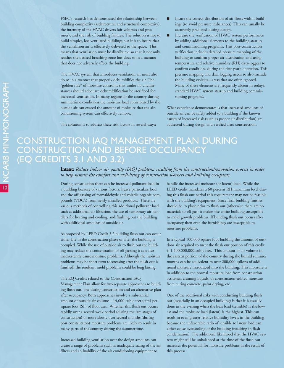 NCARB MINI-MONOGRAPH  FSEC   s research has demonstrated the relationship between building complexity  architectural and s...
