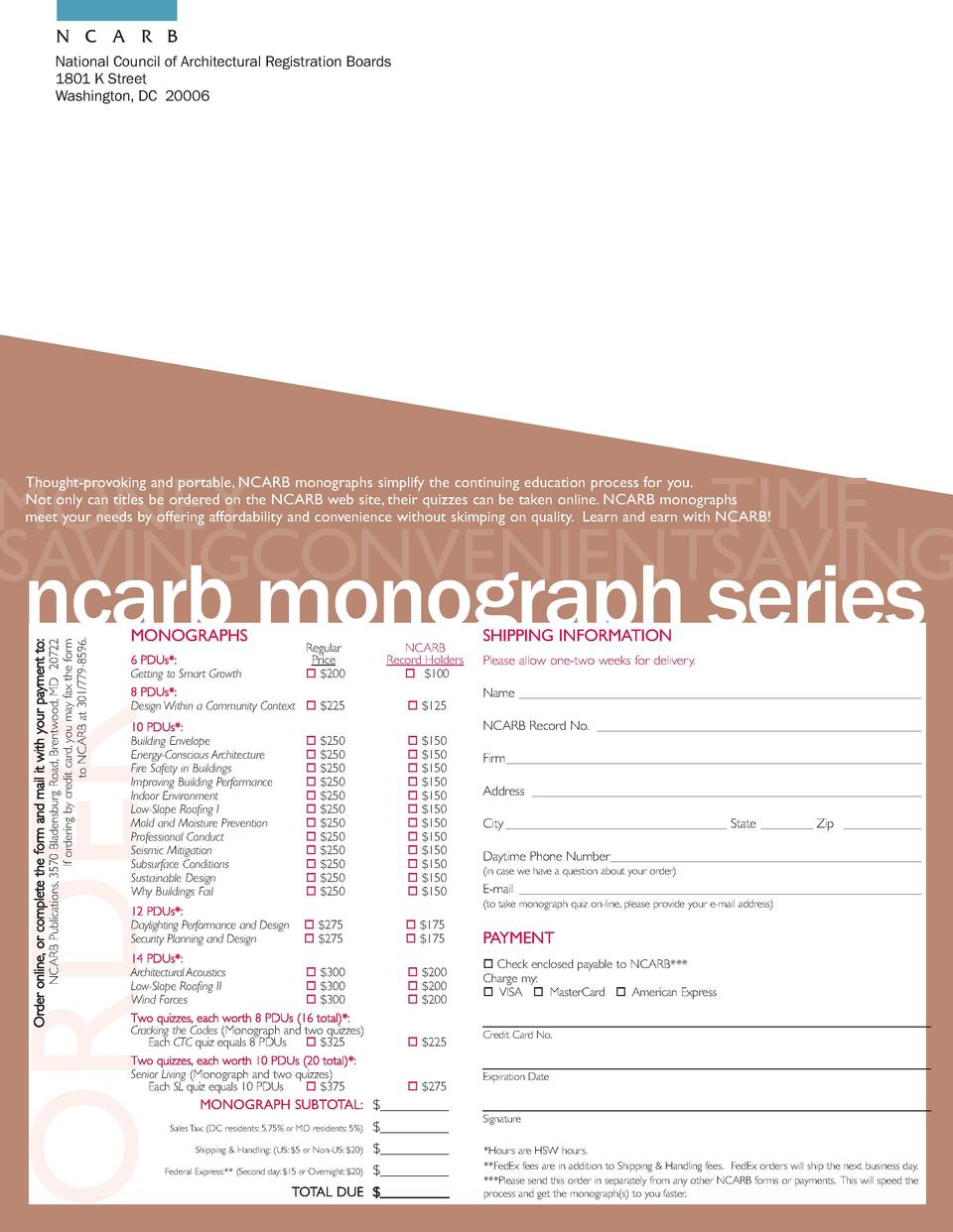 N C A R B National Council of Architectural Registration Boards 1801 K Street Washington, DC 20006  Thought-provoking and ...
