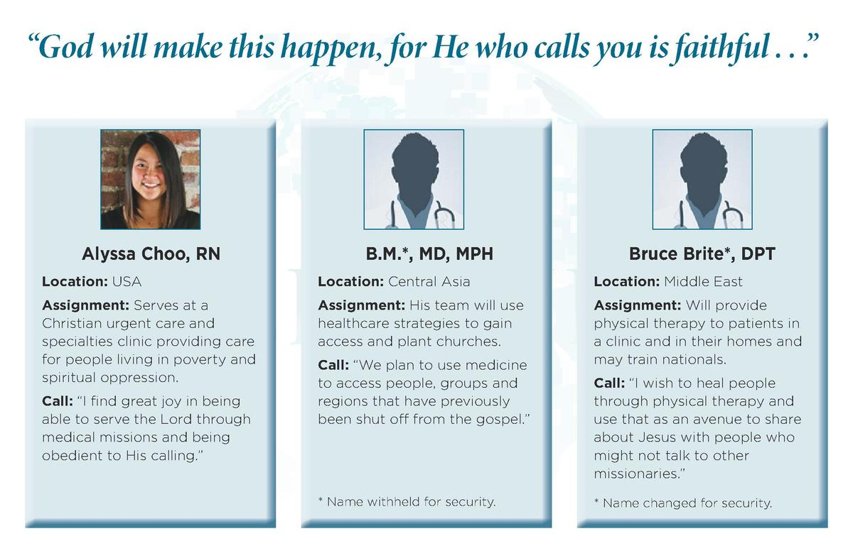 God will make this happen, for He who calls you is faithful . . .     Alyssa Choo, RN  B.M. , MD, MPH  Bruce Brite , DP...
