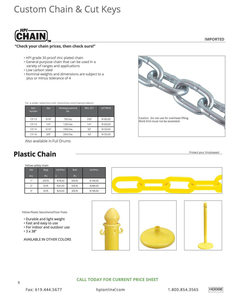 IMPORTED      HPI grade 30 proof zinc plated chain     General purpose chain that can be used in a variety of ranges and a...