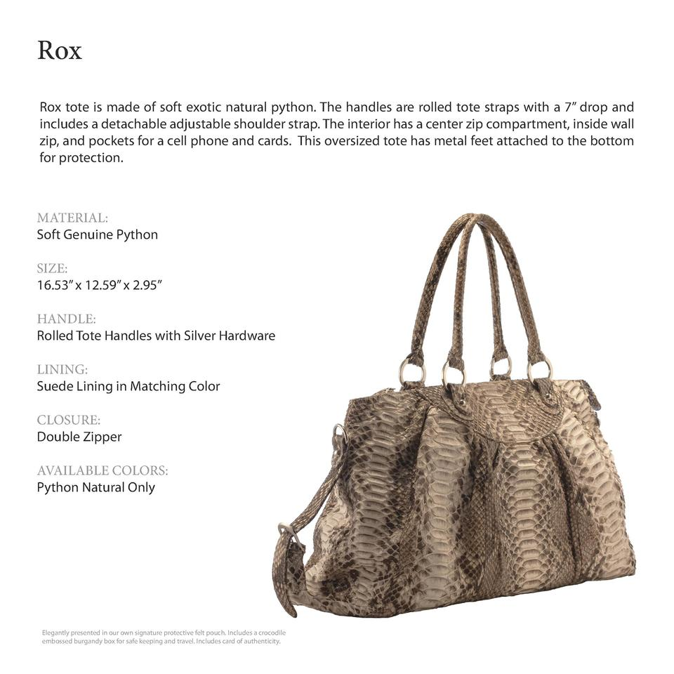 Rox           Rox tote is made of soft exotic natural python. The handles are rolled tote straps with a 7    drop and incl...