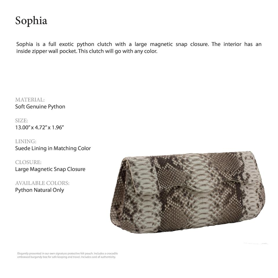 Sophia         Sophia is a full exotic python clutch with a large magnetic snap closure. The interior has an inside zipper...