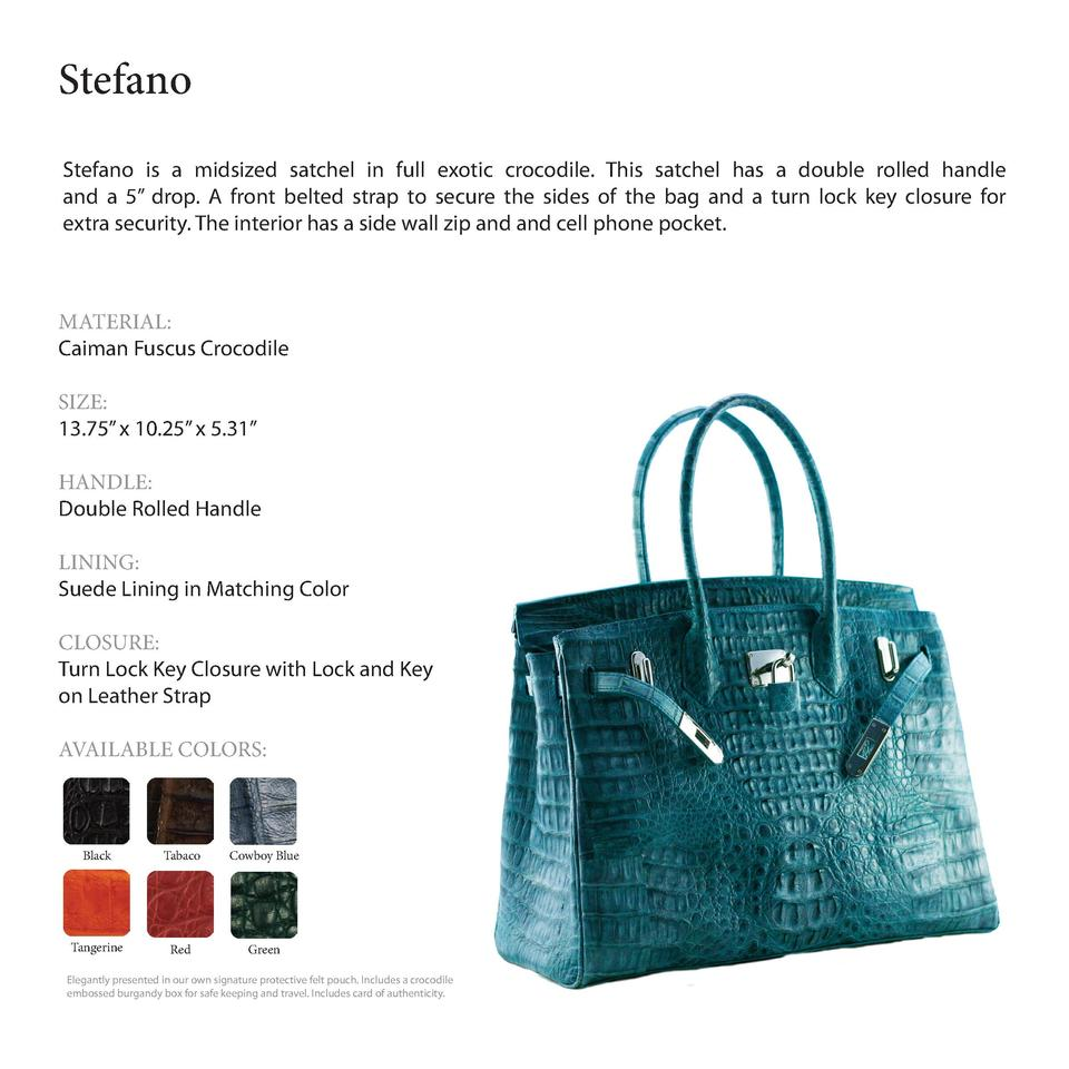 Stefano         Stefano is a midsized satchel in full exotic crocodile. This satchel has a double rolled handle and a 5   ...