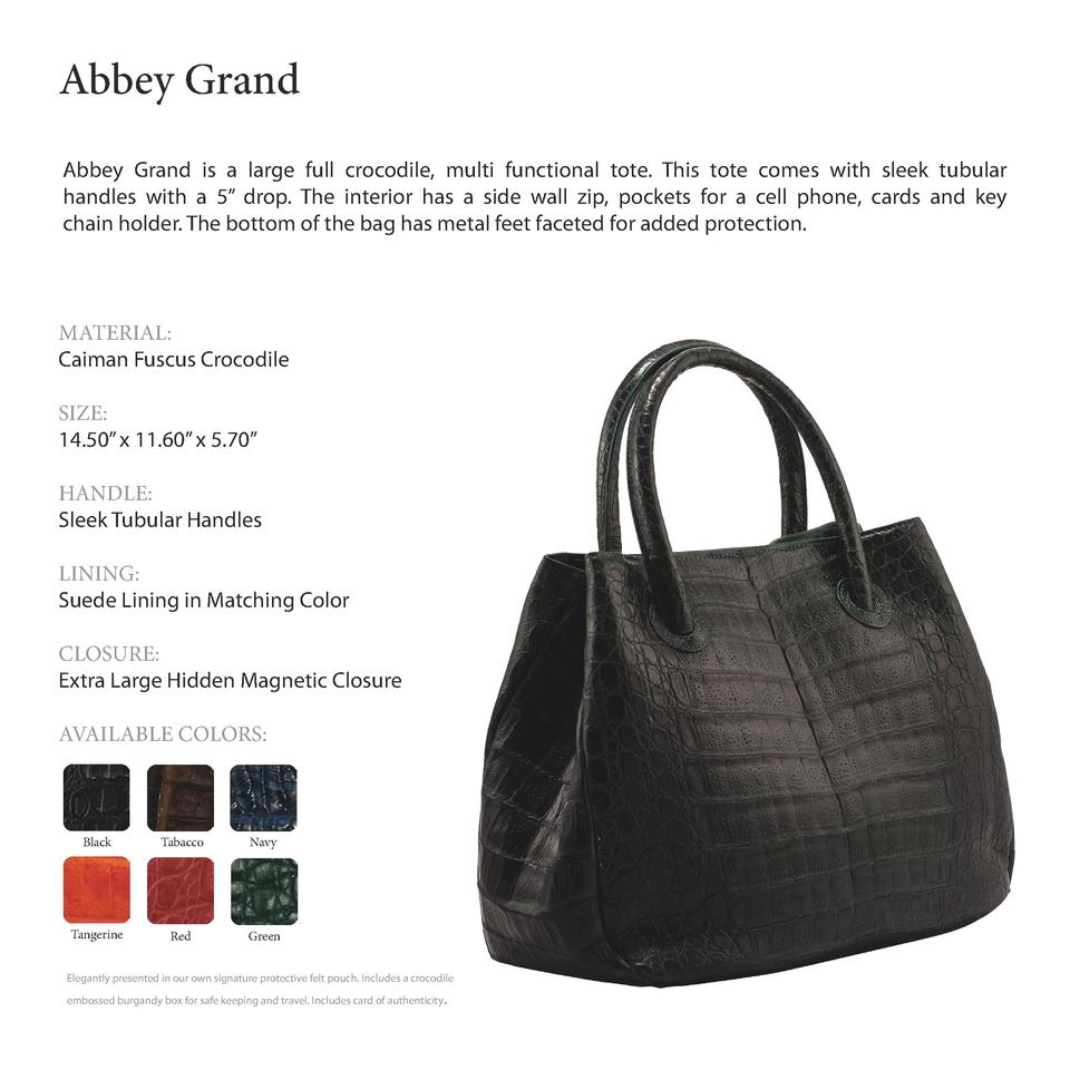 Abbey Grand         Abbey Grand is a large full crocodile, multi functional tote. This tote comes with sleek tubular handl...