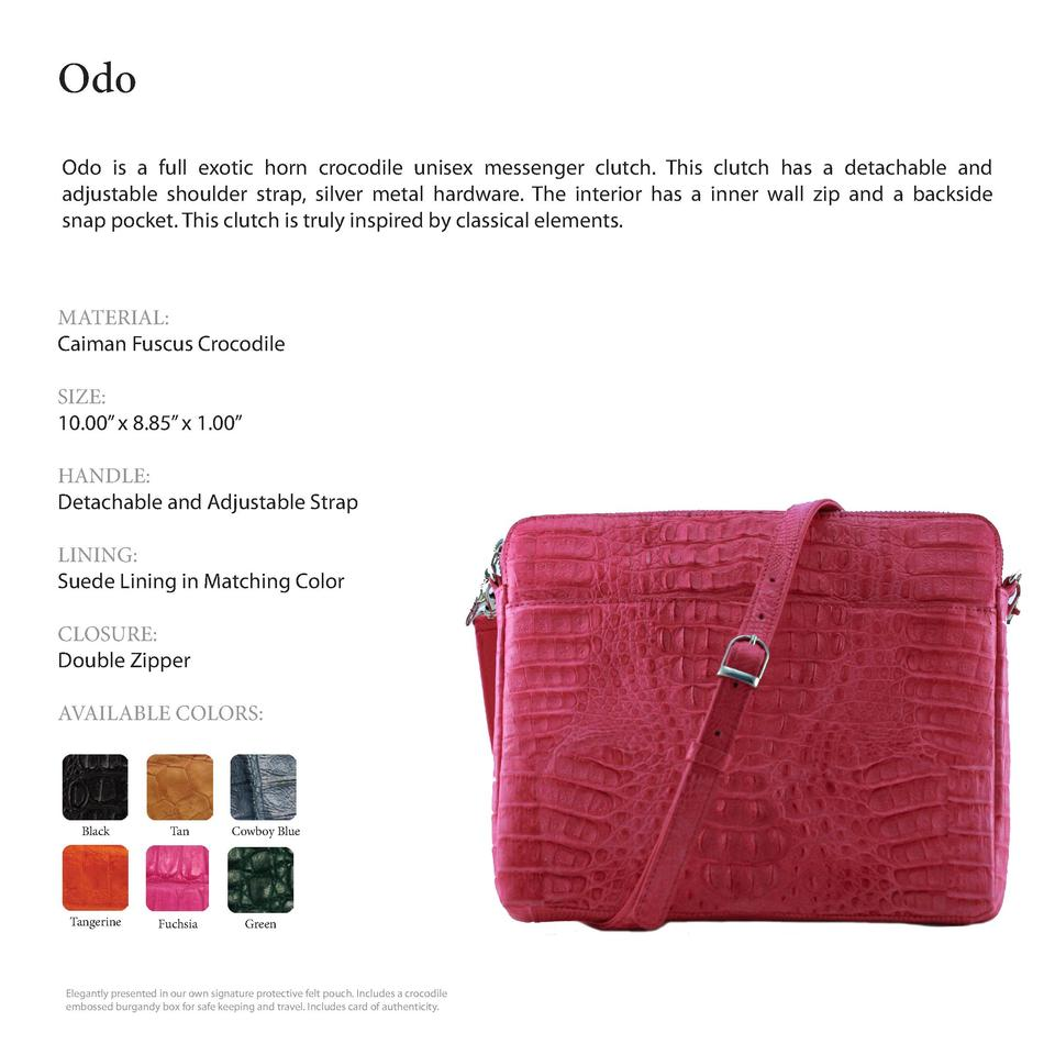 Odo              Odo is a full exotic horn crocodile unisex messenger clutch. This clutch has a detachable and adjustable ...