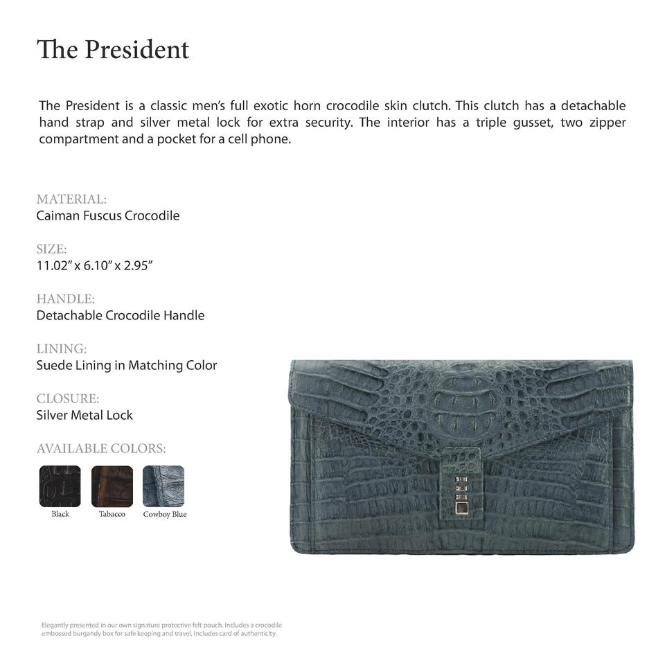 The President         The President is a classic men   s full exotic horn crocodile skin clutch. This clutch has a detacha...