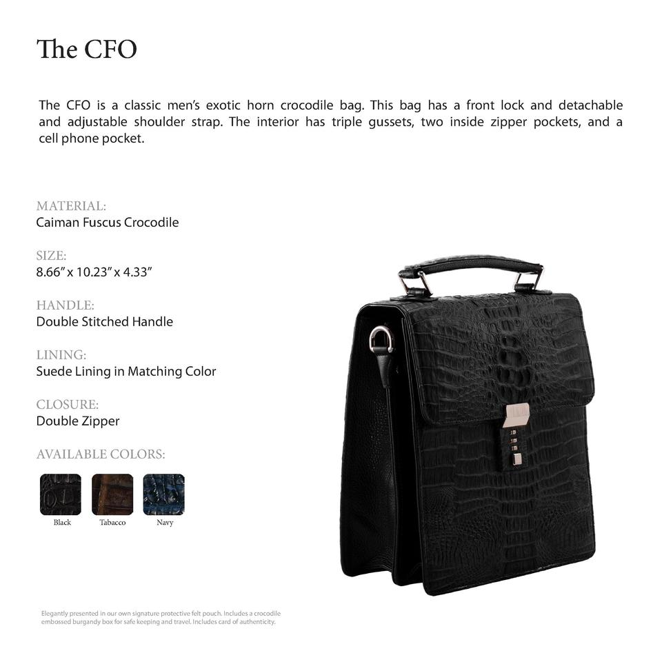 The CFO         The CFO is a classic men   s exotic horn crocodile bag. This bag has a front lock and detachable and adjus...