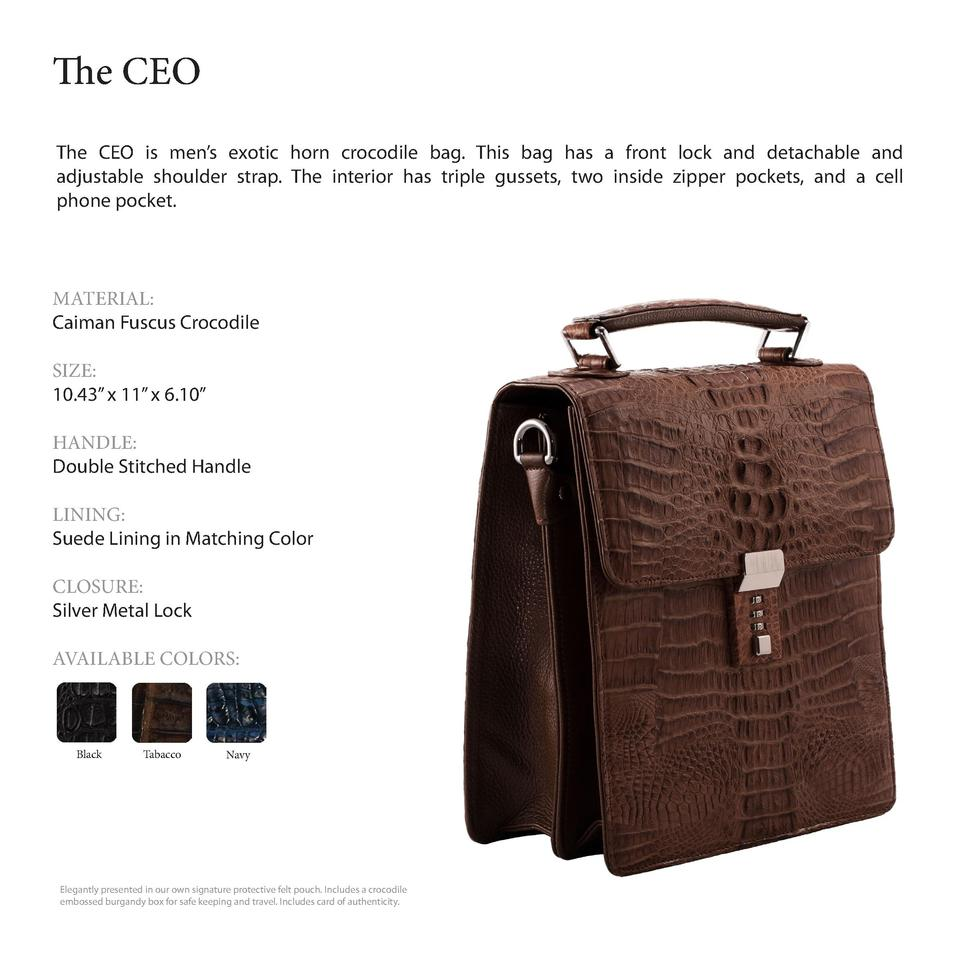 The CEO         The CEO is men   s exotic horn crocodile bag. This bag has a front lock and detachable and adjustable shou...