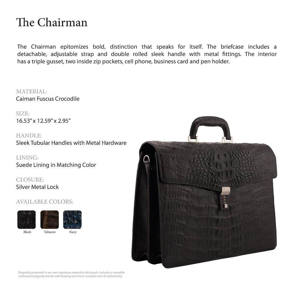 The Chairman        The Chairman epitomizes bold, distinction that speaks for itself. The briefcase includes a detachable,...