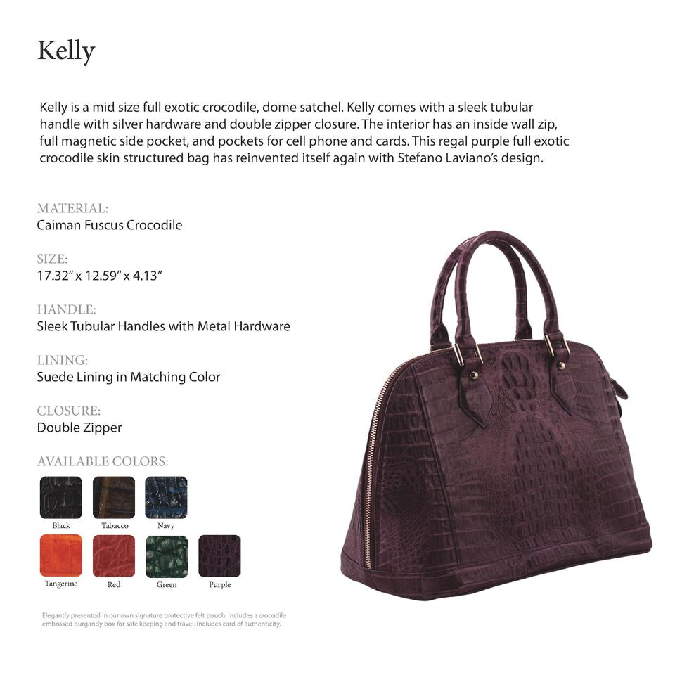 Kelly           Kelly is a mid size full exotic crocodile, dome satchel. Kelly comes with a sleek tubular handle with silv...