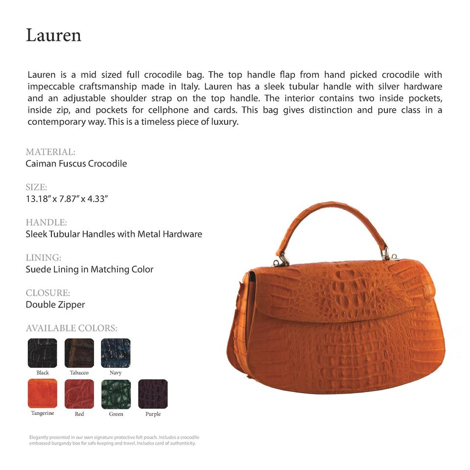 Lauren              Lauren is a mid sized full crocodile bag. The top handle flap from hand picked crocodile with impeccab...