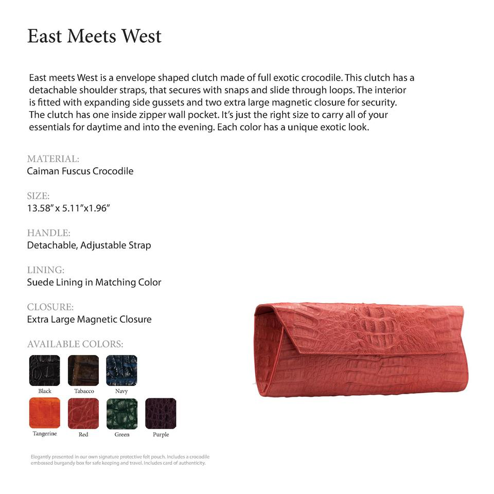 East Meets West        East meets West is a envelope shaped clutch made of full exotic crocodile. This clutch has a detach...