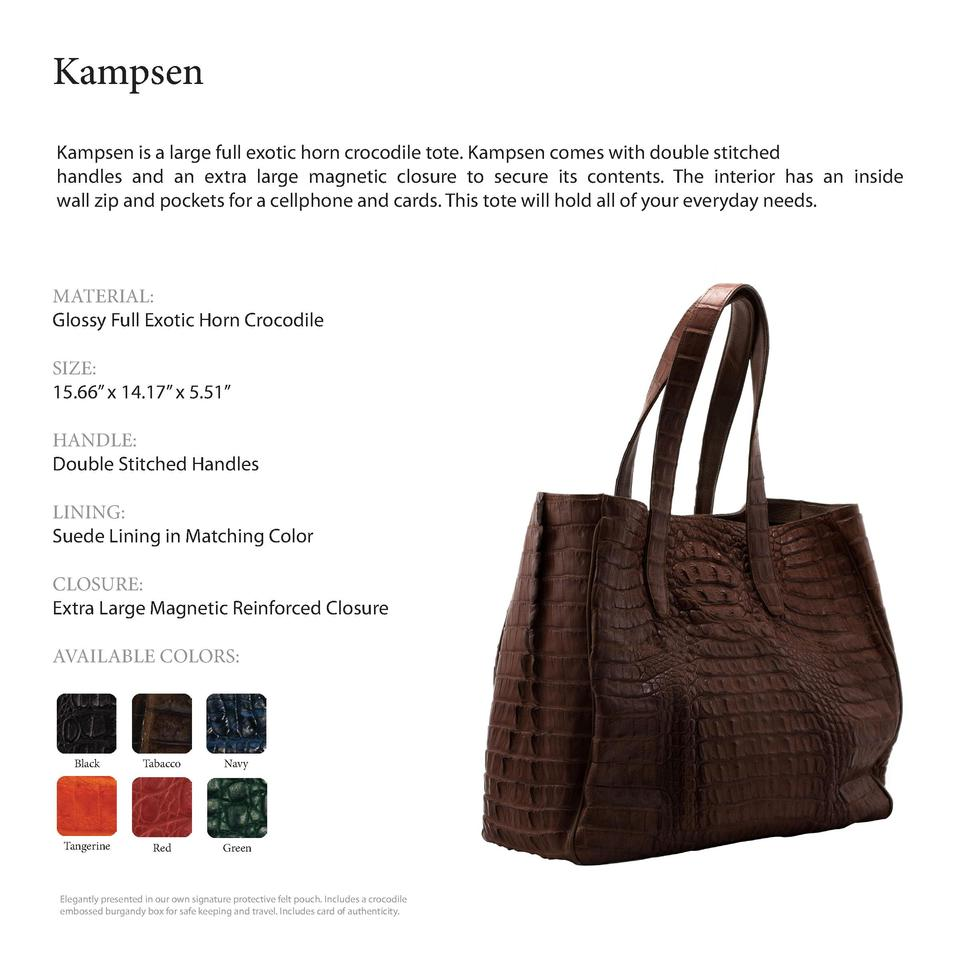 Kampsen              Kampsen is a large full exotic horn crocodile tote. Kampsen comes with double stitched handles and an...
