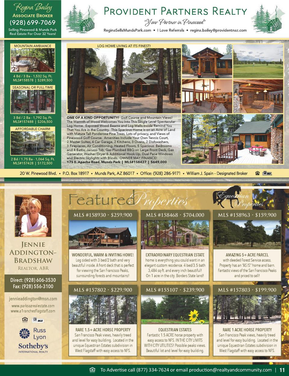 Regina Bailey  Associate Broker   928  699-7069  Selling Pinewood   Munds Park Real Estate For Over 32 Years  MOUNTAIN AMB...