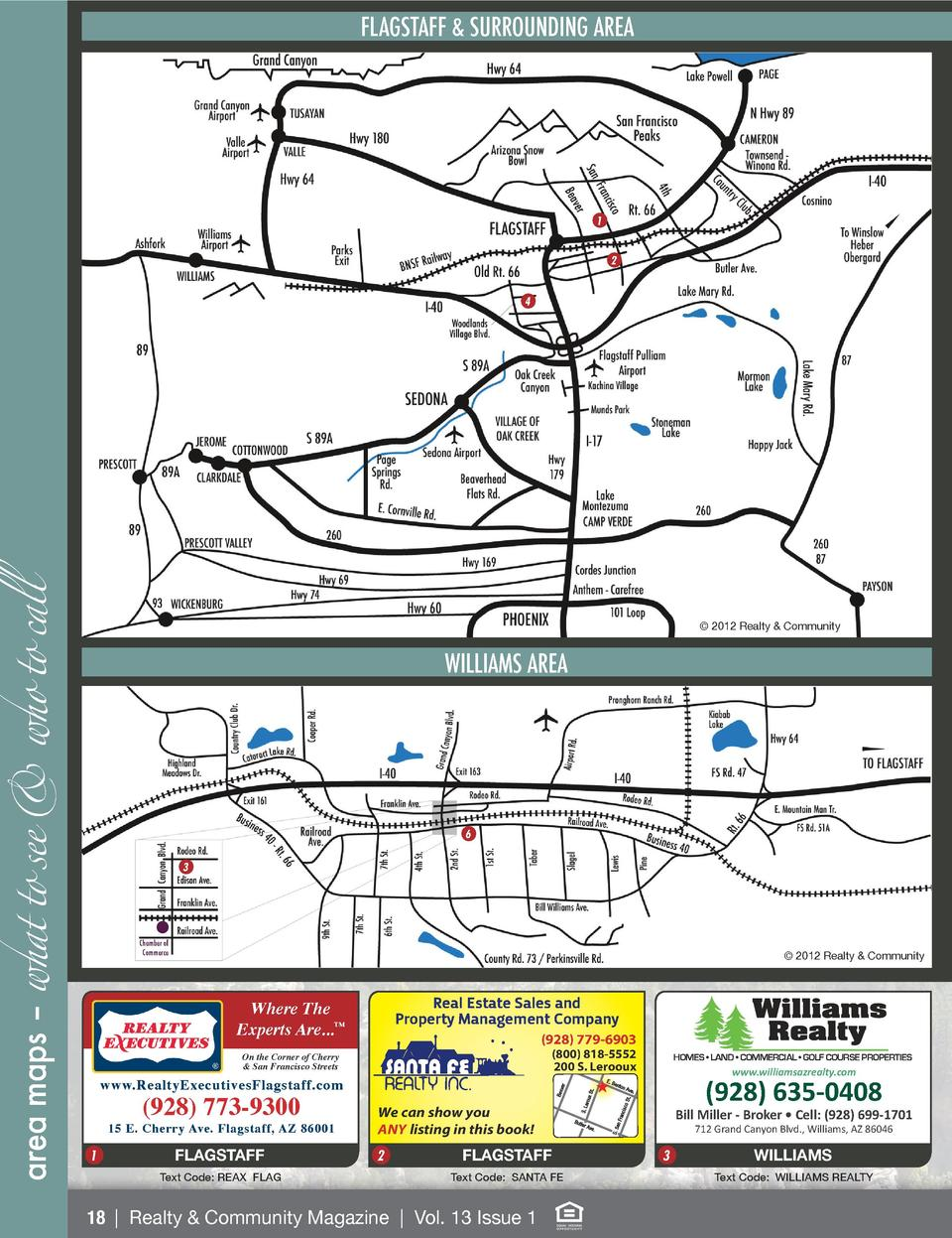 FLAGSTAFF   SURROUNDING AREA  1 2  area maps     what to see   who to call  4     2012 Realty   Community  WILLIAMS AREA  ...