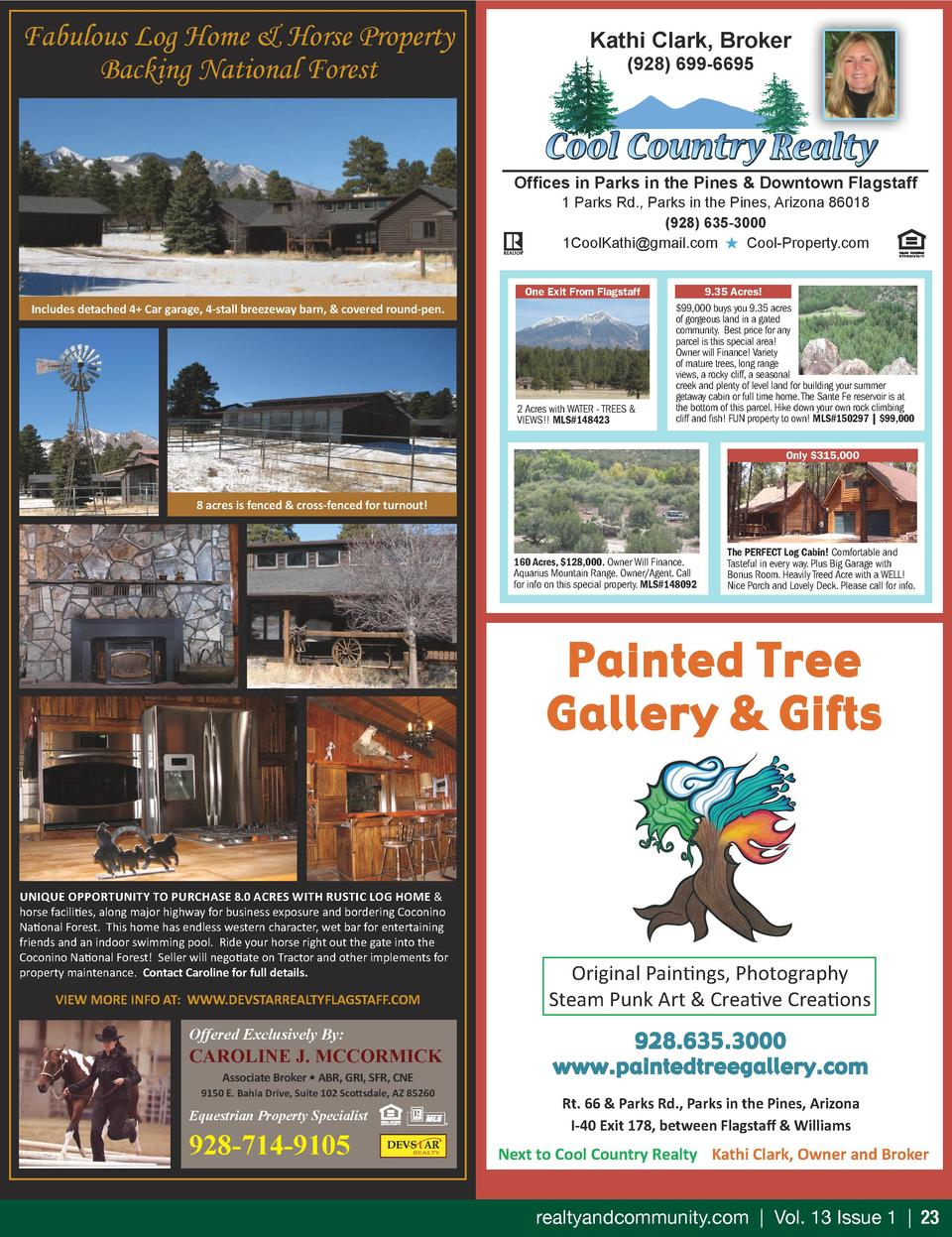 Fabulous Log Home   Horse Property Backing National Forest  Kathi Clark, Broker  928  699-6695  Offices in Parks in the Pi...