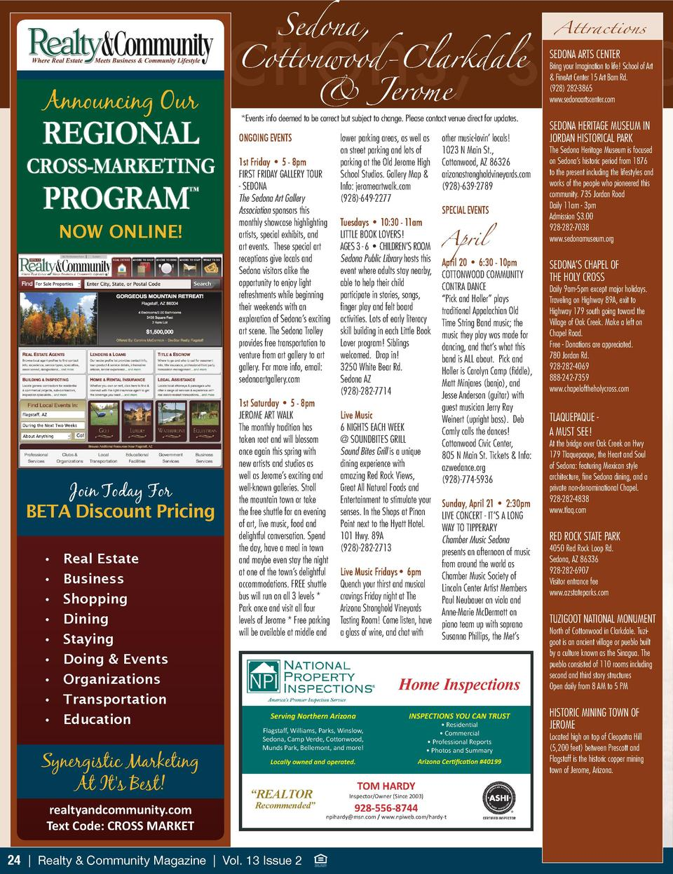 Sedona,  attractions, spec  Announcing Our  REGIONAL CROSS-MARKETING  PROGRAM       NOW ONLINE   Join Today For BETA Disco...