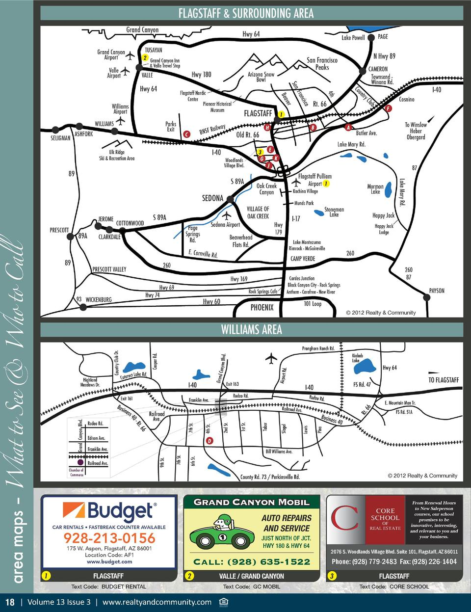 FLAGSTAFF   SURROUNDING AREA  2  F  1 B  H  C 3 G  A  E K J  area maps     What to See   Who to Call  1     2012 Realty   ...