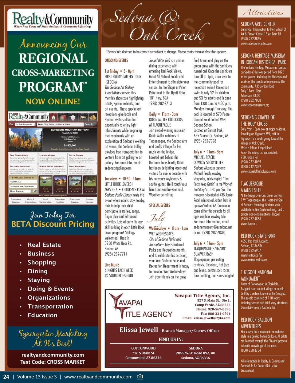 Sedona    attractions, spec  Announcing Our  REGIONAL CROSS-MARKETING  PROGRAM       NOW ONLINE   Join Today For BETA Disc...