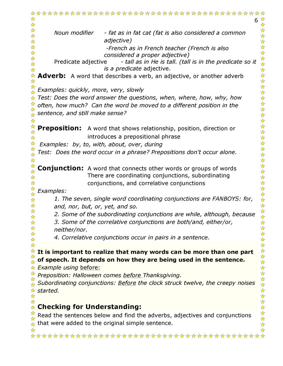 Worksheet Adverb In A Sentence 13 14 second semester grammar 1 simplebooklet com checking for understanding read the sentences below and find adverbs adjectives conjunctions that were added to original simple sent