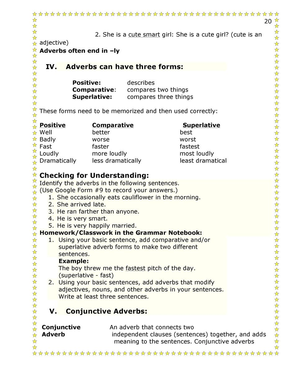 worksheet Conjunctive Adverbs Worksheets worksheet adverb of place exercises and answers mikyu free 13 14 second semester grammar 1 simplebooklet com other