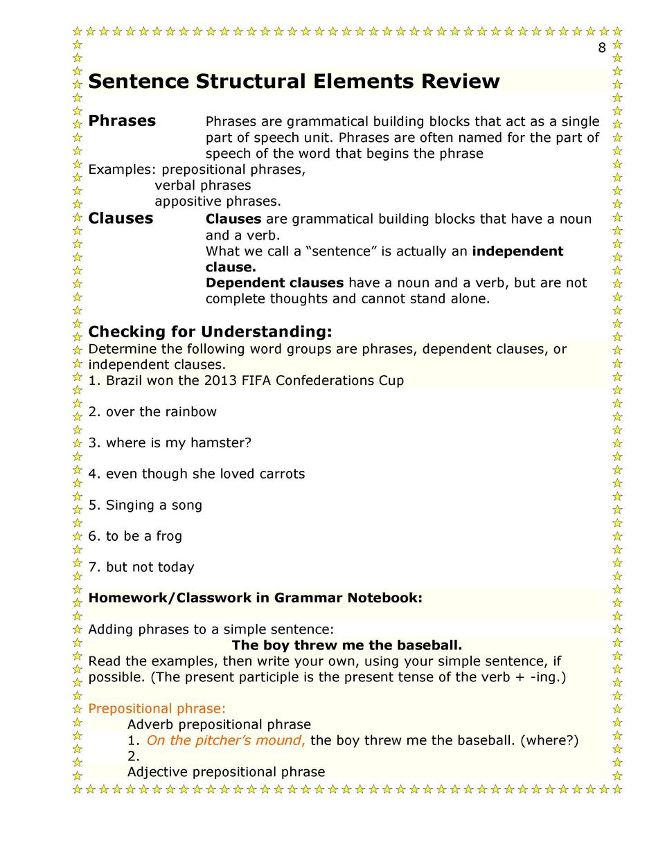 Adjective Phrase Worksheet 7th Grade What Did We Do