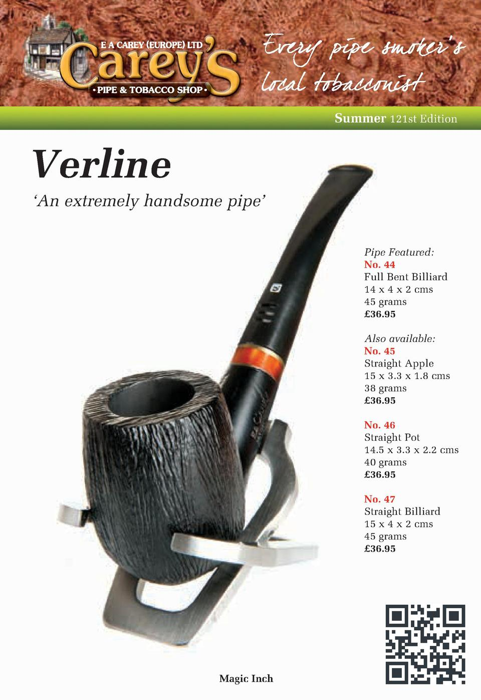 summer 121st edition verline an extremely handsome pipe pipe featured no 44 full bent billiard