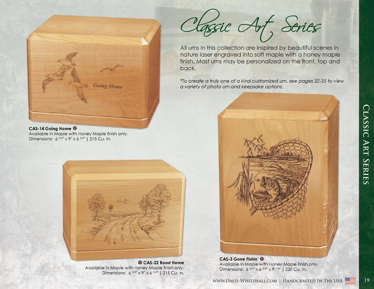 Classic Art Series All urns in this collection are inspired by beautiful scenes in nature laser engraved into soft maple w...