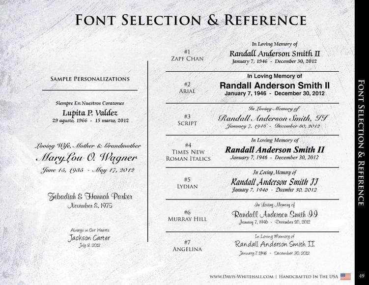 Font Selection   Reference In Loving Memory of  1 Zapf Chan  Randall Anderson Smith II January 7, 1946 - December 30, 2012...