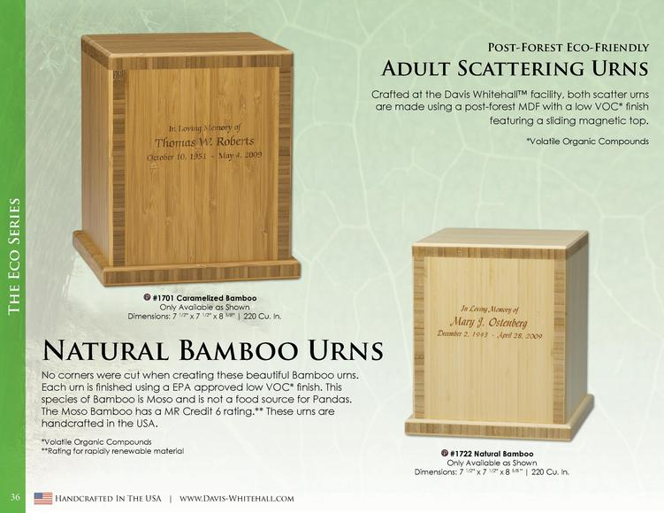 Post-Forest Eco-Friendly  Adult Scattering Urns Crafted at the Davis Whitehall    facility, both scatter urns are made usi...