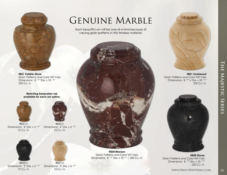 Genuine Marble Each beautiful urn will be one-of-a kind because of varying grain patterns in this timeless material.  Matc...