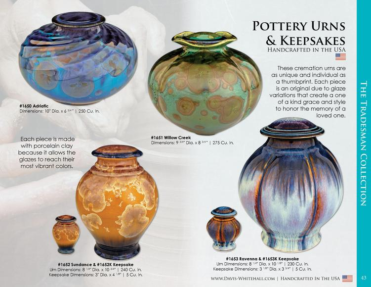 Pottery Urns   Keepsakes Handcrafted in the USA   1650 Adriatic Dimensions  10  Dia. x 6 3 4     250 Cu. In.  Each piece i...
