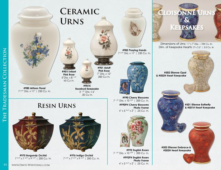 The Tradesman Collection  Ceramic Urns  Dimensions of Urns  11  x 7  Dia.   200 Cu. In. Dim. of Keepsake Hearts  3  x 2.5 ...