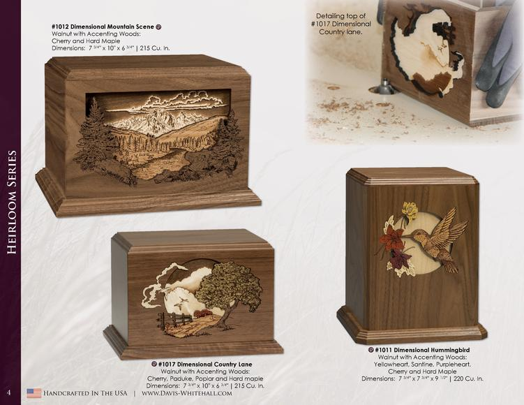 Heirloom Series   1012 Dimensional Mountain Scene P Walnut with Accenting Woods  Cherry and Hard Maple Dimensions  7 3 4  ...