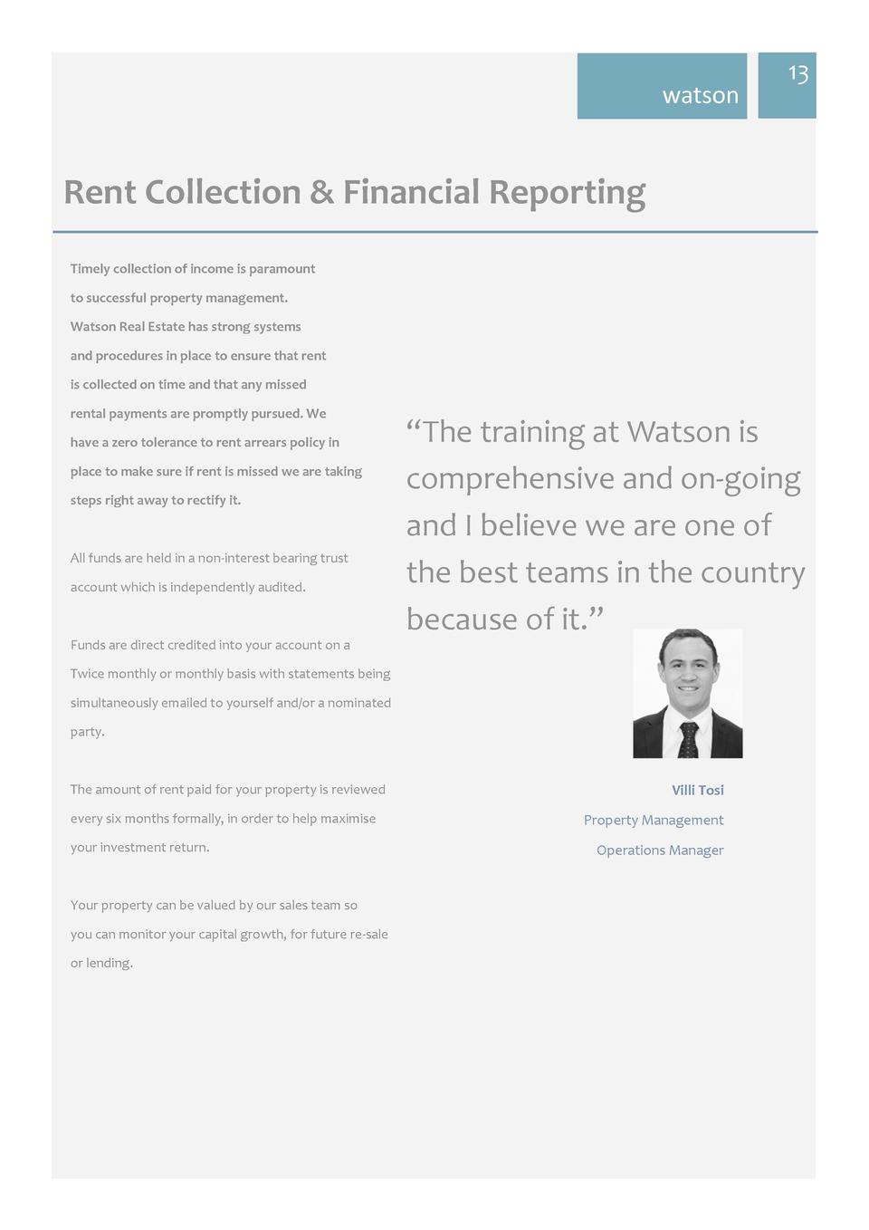 watson  13     Rent  Collection     Financial  Reporting   Timely  collection  of  income  is  paramount   to  success...