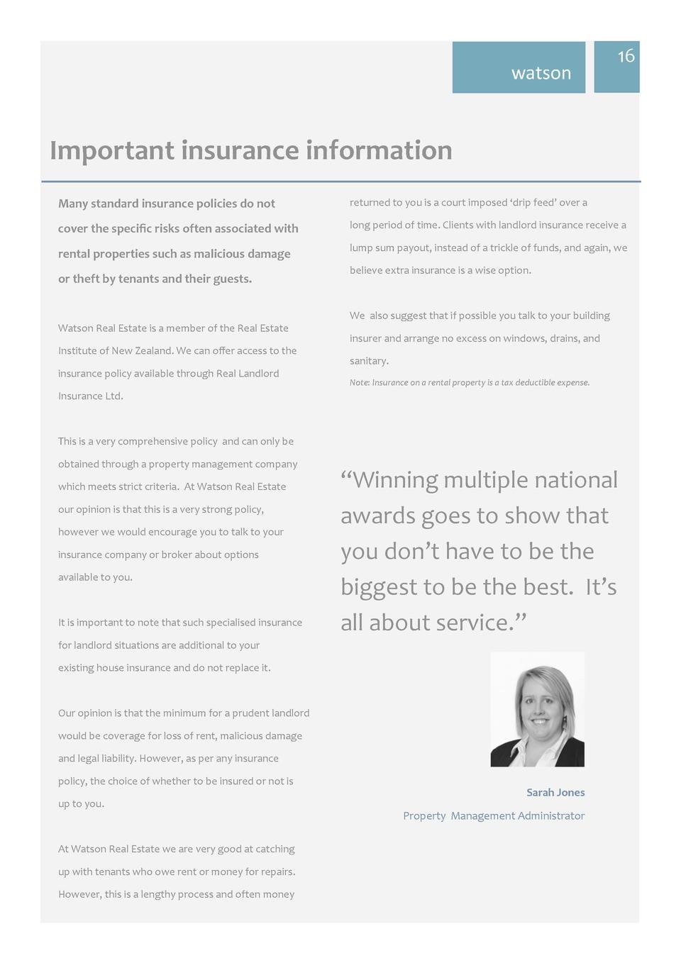 watson  16     Important  insurance  information   Many  standard  insurance  policies  do  not    returned to you is ...