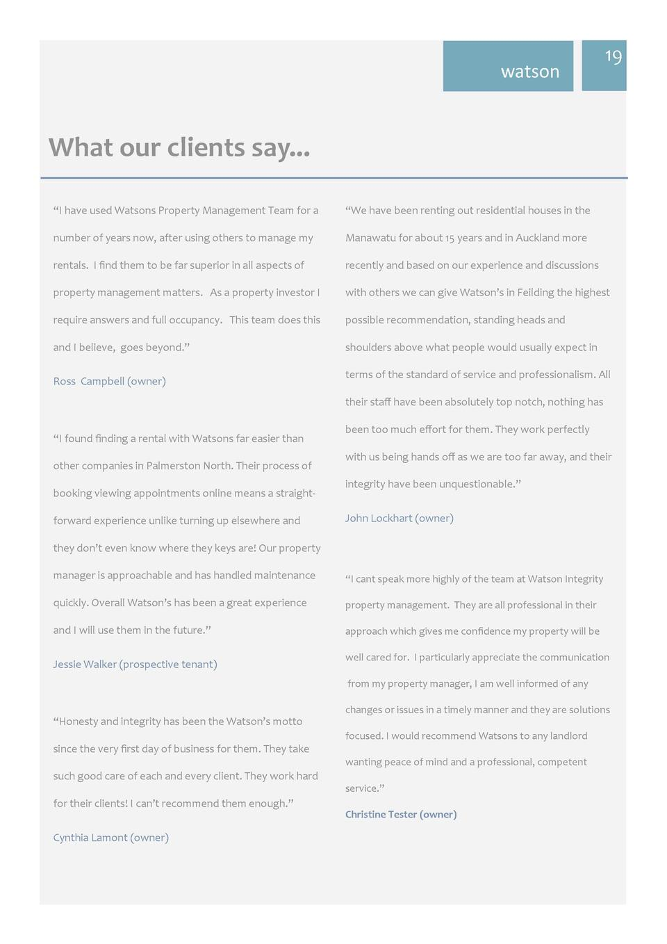 watson  19     What  our  clients  say...      I have used Watsons Property Management Team for a     We have been ren...