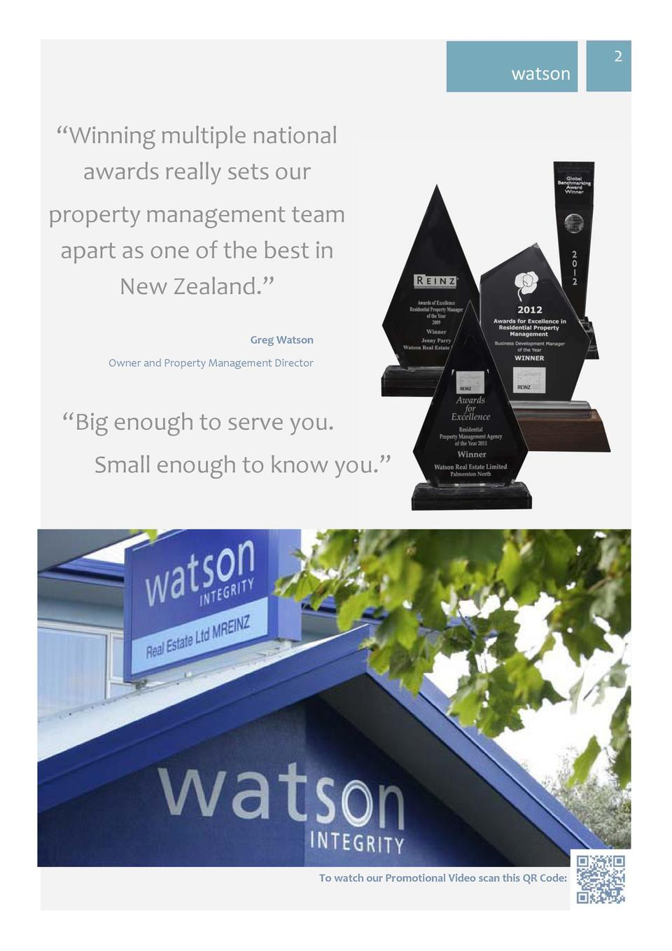 watson     Winning multiple national awards really sets our property management team apart as one of the best in New Z...