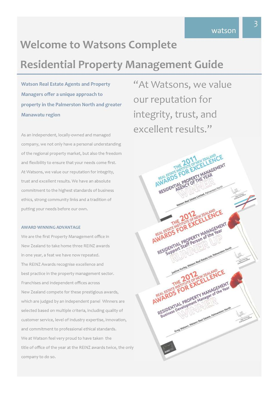 watson  Welcome  to  Watsons  Complete     Residential  Property  Management  Guide   Watson  Real  Estate  Agents  an...