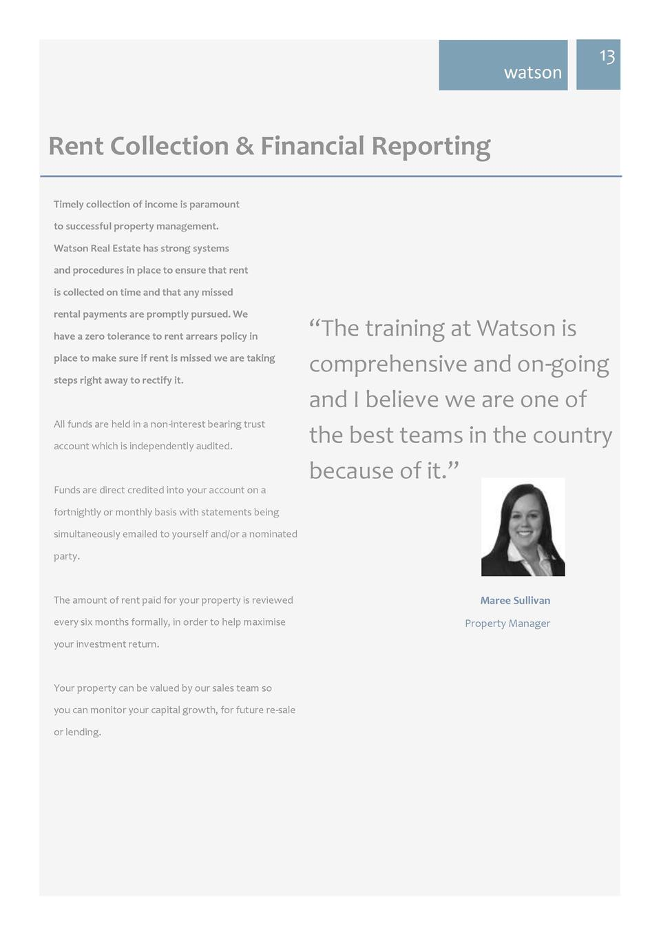 watson  13  Rent Collection   Financial Reporting Timely collection of income is paramount to successful property manageme...