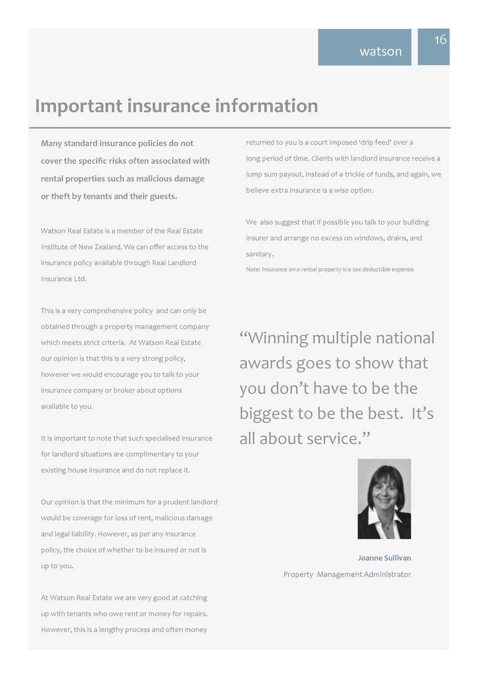 watson  16  Important insurance information Many standard insurance policies do not  returned to you is a court imposed   ...