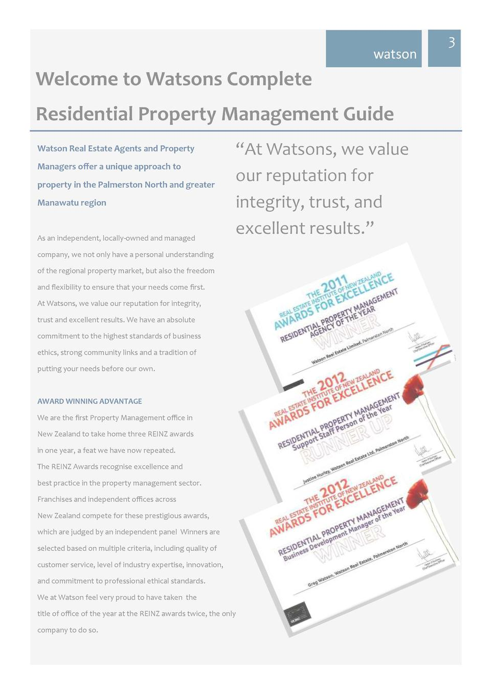 watson  Welcome to Watsons Complete Residential Property Management Guide Watson Real Estate Agents and Property Managers ...