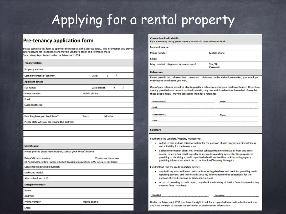 Applying for a rental property