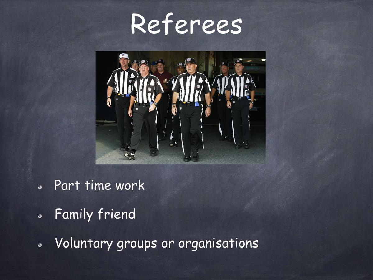 Referees  Part time work Family friend Voluntary groups or organisations