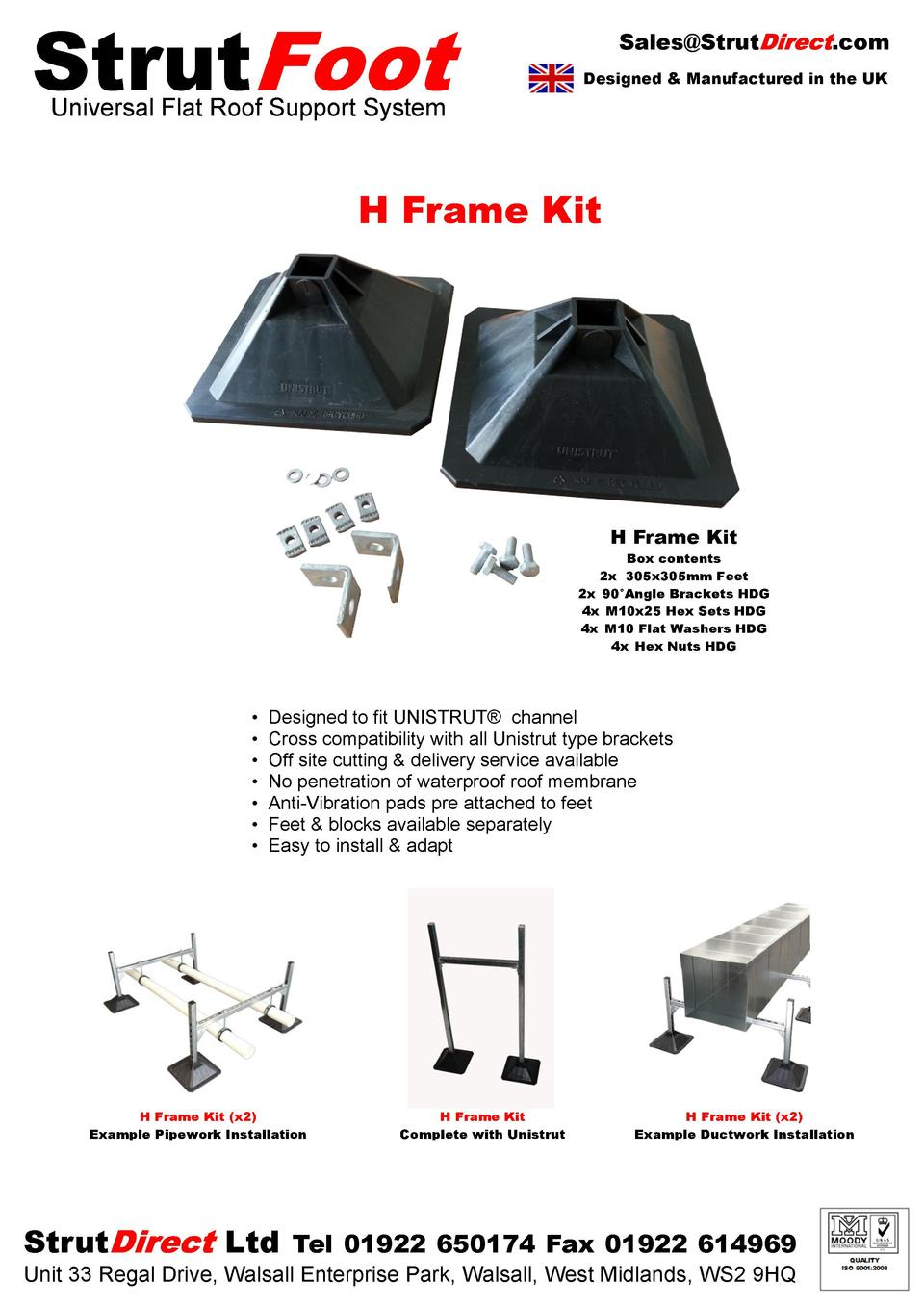 Strut  Sales Strut  .com  Designed   Manufactured in the UK  Universal Flat Roof Support System  H Frame Kit  H Frame Kit ...